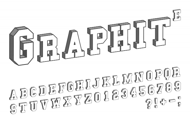 3d font template. letters and numbers isometric design. vector illustration. Premium Vector