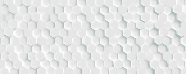 3 d未来的なハニカムモザイク白い背景。現実的な幾何学的なメッシュセルテクスチャ。六角形のグリッドで抽象的な白い壁紙。 Premiumベクター