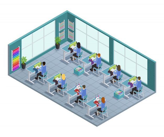 3d garment factory isometric composition with workshop on tailoring in the factory vector illustrati Free Vector