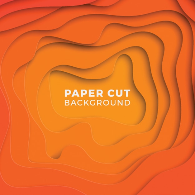 3d geometric background with realistic paper cut layers. Premium Vector