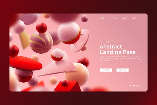 3d geometric colourful balls landing page Free Vector
