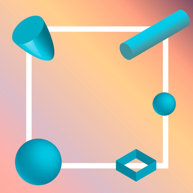 3d geometric element Premium Vector