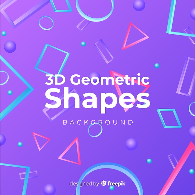 3d geometric shapes background Vector | Free Download