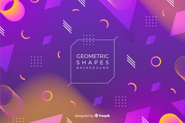 3d geometric shapes background Free Vector