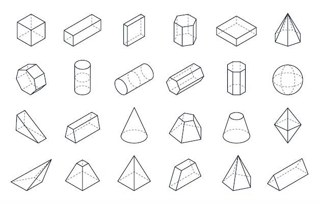 3dの幾何学的図形。等尺性線形フォーム、キューブコーンシリンダーピラミッド低ポリゴンオブジェクト。最小等尺性 Premiumベクター