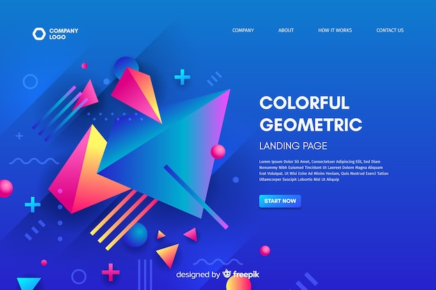 3d geometric shapes landing page template Vector | Free Download