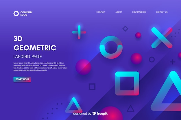3d geometric shapes landing page template Free Vector