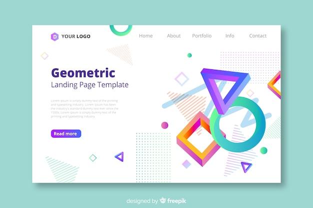 3d幾何学的図形のランディングページテンプレート 無料ベクター