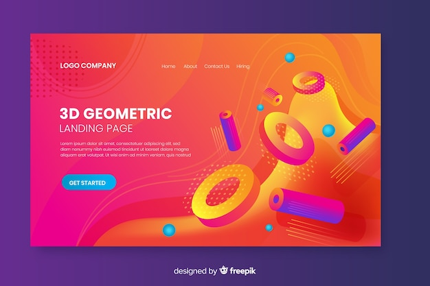 3d geometric shapes landing page Free Vector