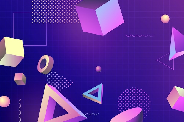 3d geometric shapes for landing pages and memphis effect Free Vector