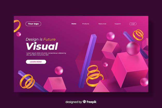 3d geometric shapes mixture landing page Free Vector
