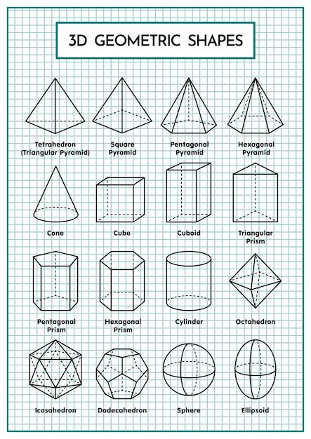 3d geometric shapes table Premium Vector