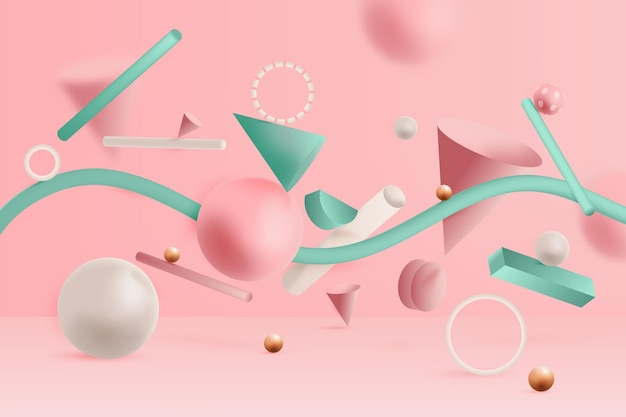 3d geometrical shapes background Free Vector