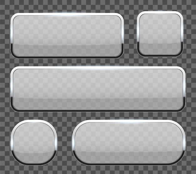 3d glass buttons with chrome frame background. Premium Vector