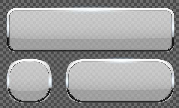 3d glass buttons with chrome frame. Premium Vector