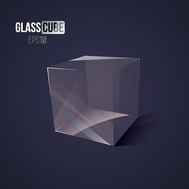 3d glass cube Premium Vector