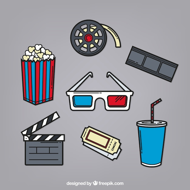 3d glasses and other hand drawn film elements Free Vector