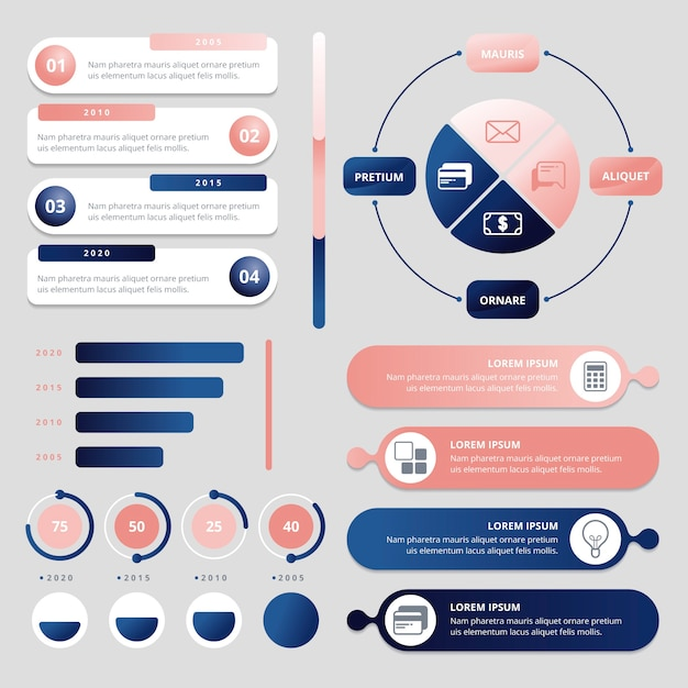 3d glossy infographic collection Free Vector