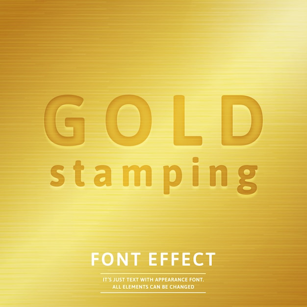 3d gold stamping font effect with realistic golden metal fill Premium Vector