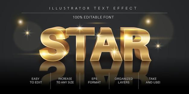 3d золотая звезда редактируемый текстовый эффект, стиль шрифта Premium векторы