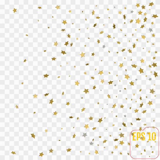 3d gold stars. confetti celebration, falling golden abstract decoration for party Premium Vector