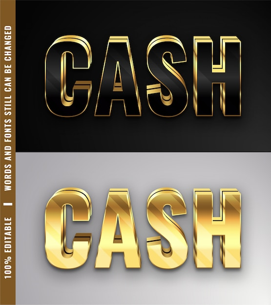 3d gold style effects editable text Premium Vector