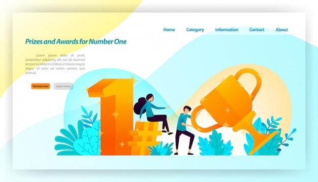 Люди получили призы и награды за номер один в стиле 3d gold с трофеями, во-первых, хэштегом. веб-шаблон целевой страницы Premium векторы