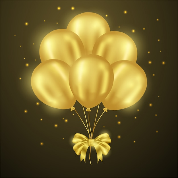 3d golden balloon party shiny with ribbon Premium Vector