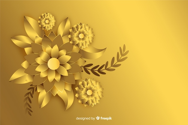 3d golden flowers background Free Vector