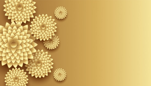 3d golden flowers decoration with text space background Free Vector