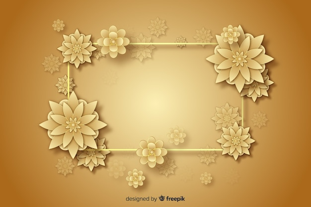 3d golden flowers decorative background Free Vector