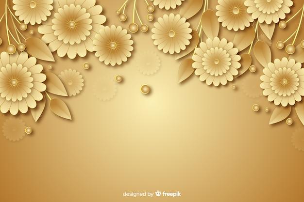 3d golden flowers decorative background Free Vector