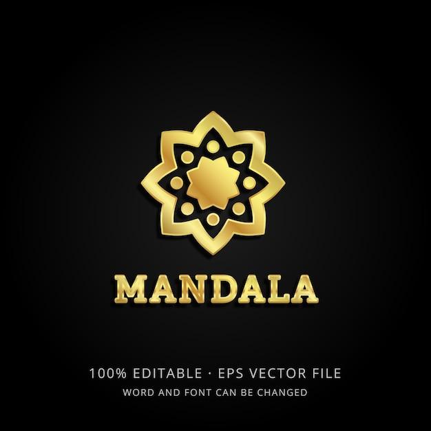 3d шаблон логотипа золотая мандала с редактируемым текстом Premium векторы