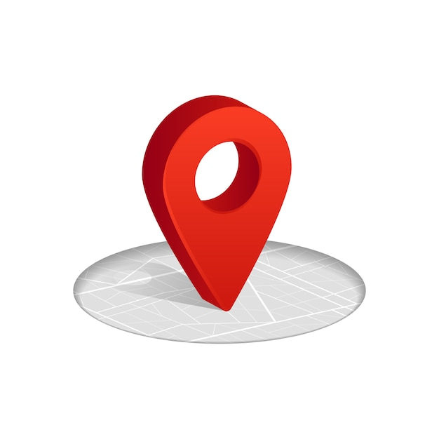 3d gps red color icon dropping on street map on white Premium Vector