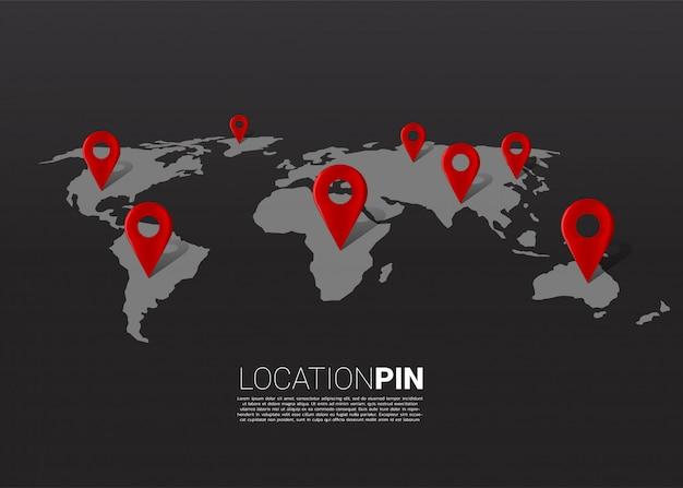 世界地図上の3d位置ピンマーカー。 gpsナビゲーションシステムのインフォグラフィックのコンセプトです。 Premiumベクター