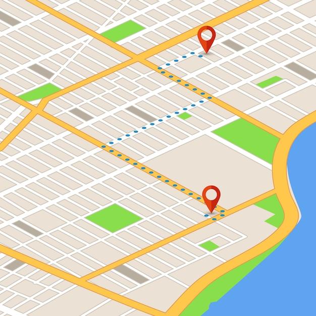 場所ピンと等角投影の3dマップ。 gpsナビゲーションのベクトルの背景 Premiumベクター