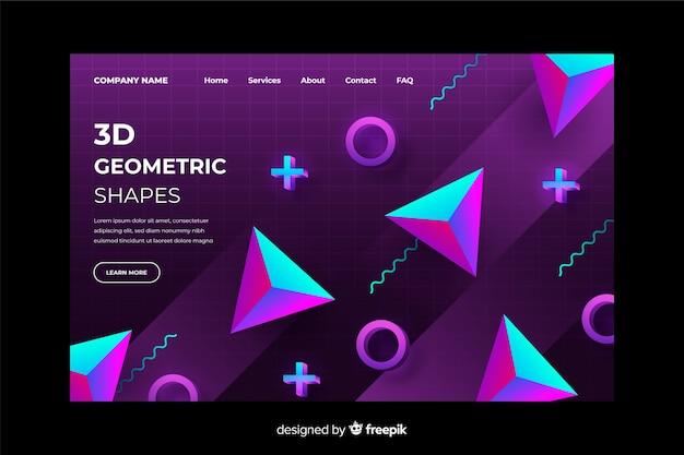 3d gradient geometric landing page template Free Vector