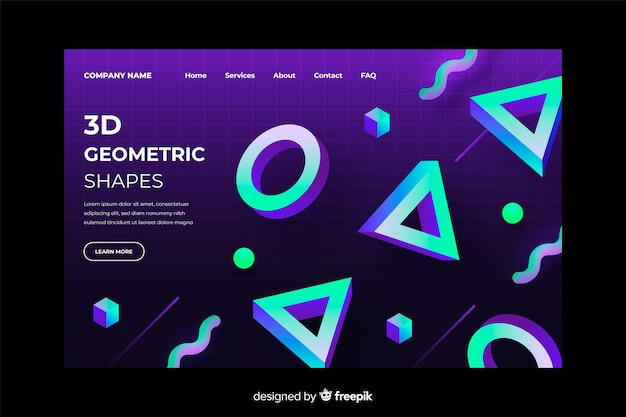 3d gradient geometric landing page template Free Vector