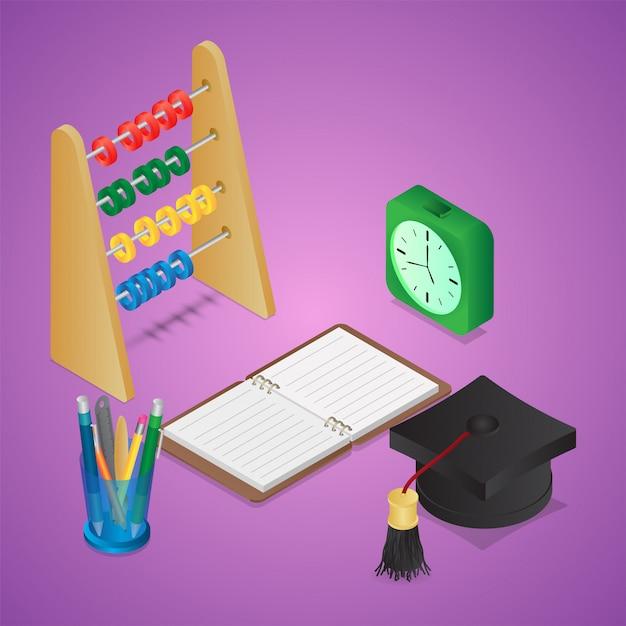 3d graduation cap with open notebook, pen holder, abacus; alarm clock Premium Vector