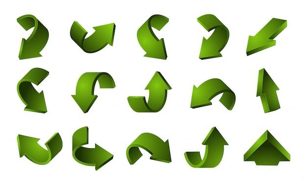 Набор 3d зеленые стрелки. переработка стрелки на белом фоне Premium векторы