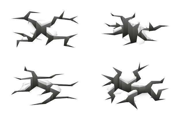 3d трещины в земле на белом Бесплатные векторы