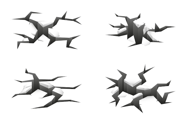 3d ground cracks set on white Free Vector