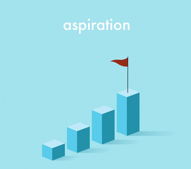 3d growth rising graph in light blue tone with the red flag Premium Vector