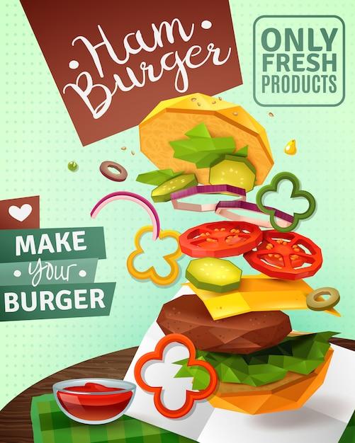 3d hamburger ad poster Free Vector