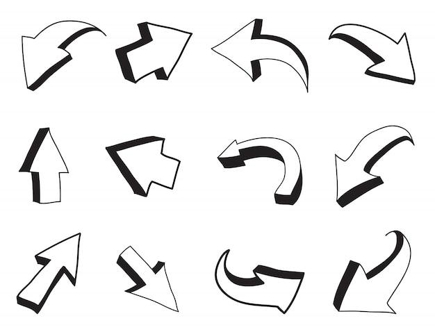 3d hand drawn arrows Premium Vector