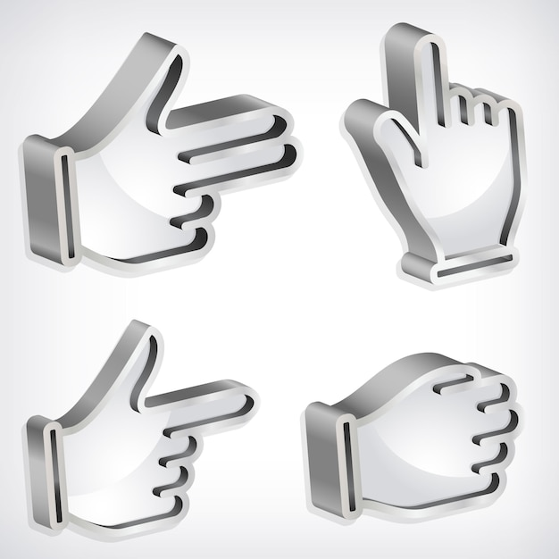 3d hand icons Free Vector