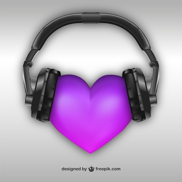 3d heart with headphones Free Vector