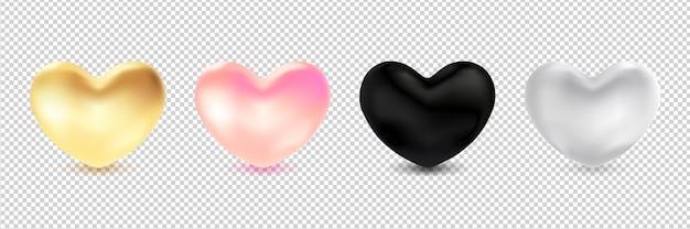 3d сердца изолированные Premium векторы