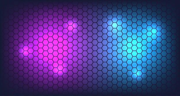 3d hexagon wall with neon glow background Premium Vector