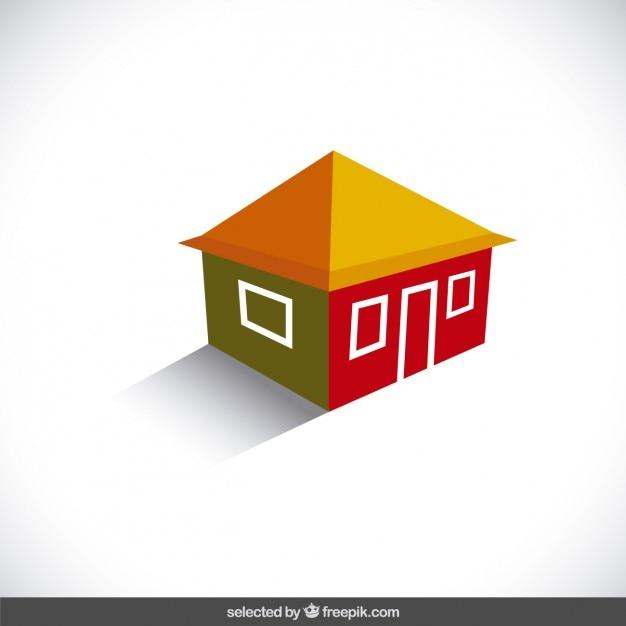 3d House Logo Free Vector